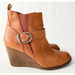 Lucky Brand Womens YISHI Toffee Ankle Booties